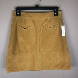 Anthropologie Mustard Corduroy Mini Skirt